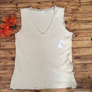 Ecru Sleeveless V Neck Top With Side Buckles NWT